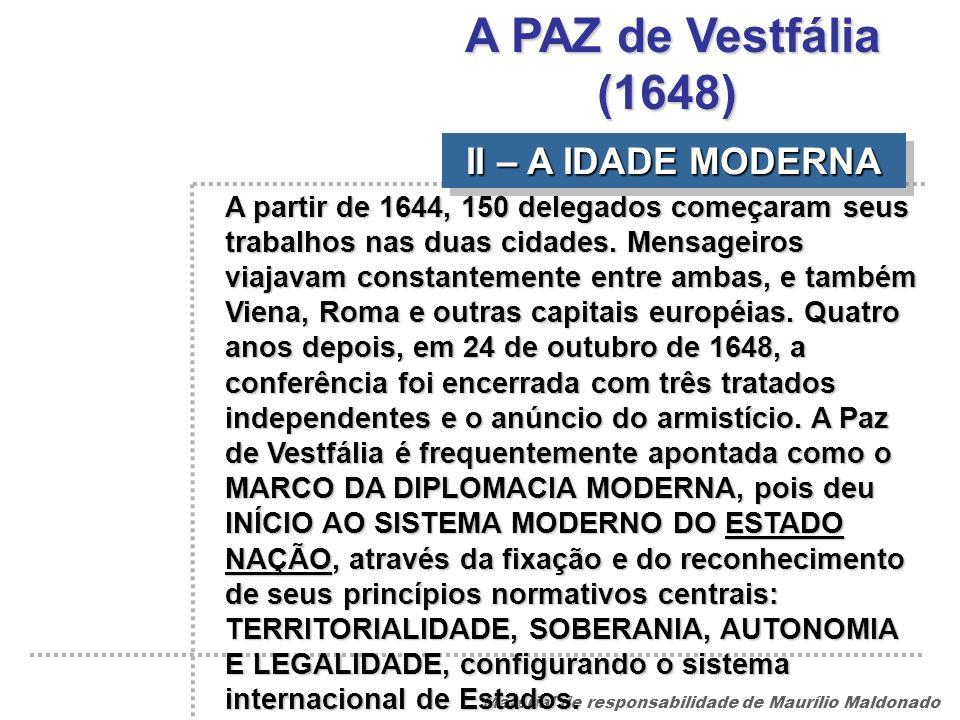 A PAZ de Vestfália (1648) II – A IDADE MODERNA