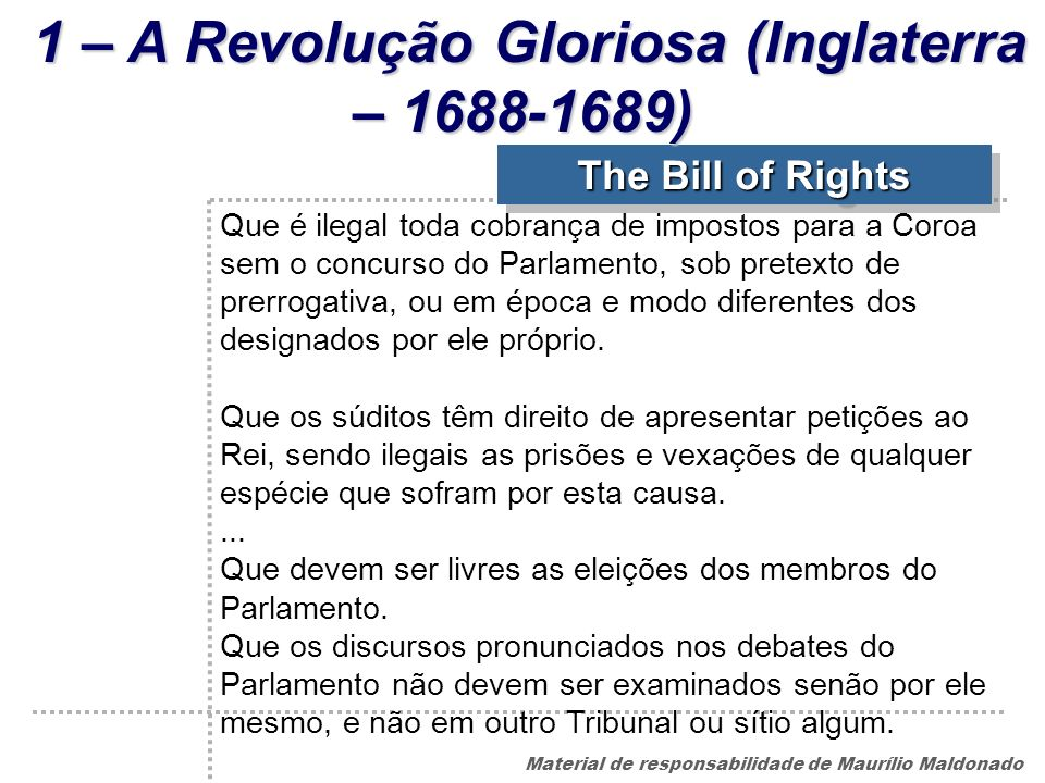 1 – A Revolução Gloriosa (Inglaterra – 1688-1689)