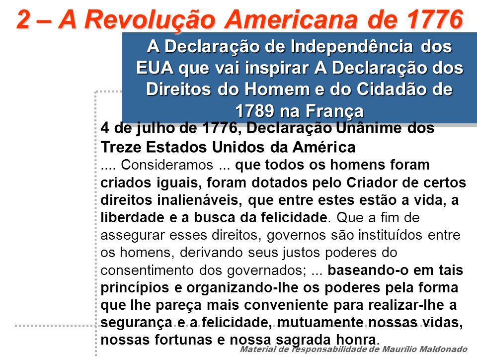 2 – A Revolução Americana de 1776