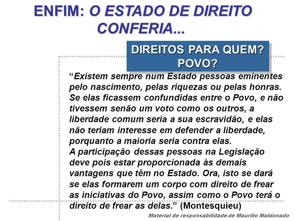 ENFIM: O ESTADO DE DIREITO CONFERIA... DIREITOS PARA QUEM POVO