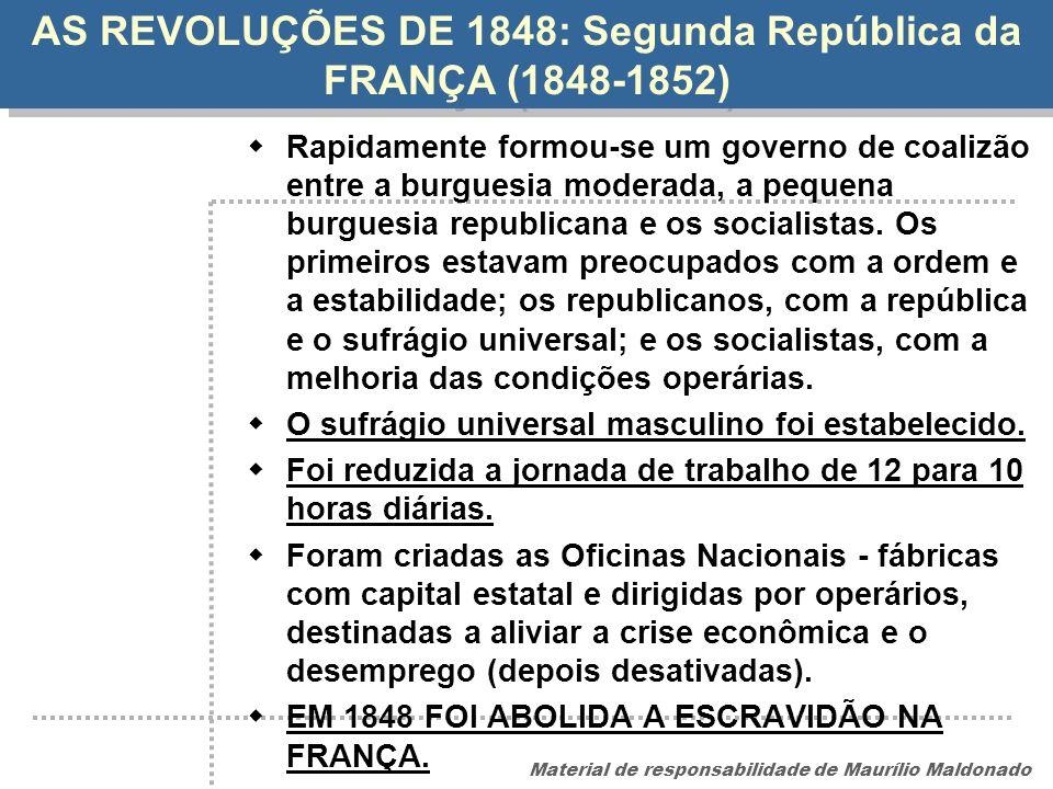 AS REVOLUÇÕES DE 1848: Segunda República da FRANÇA (1848-1852)