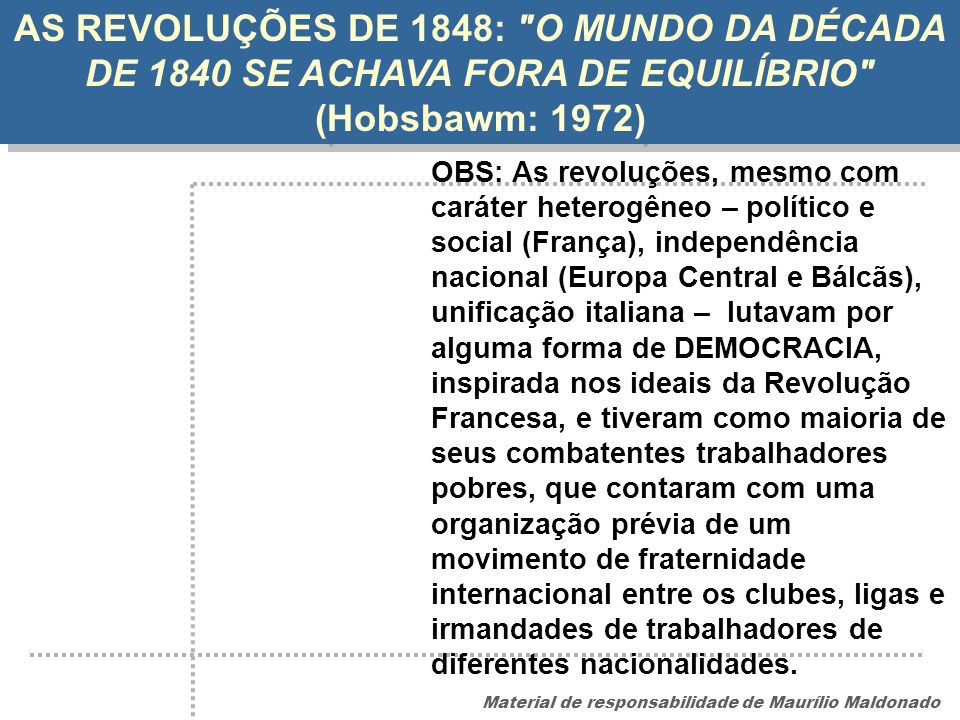 AS REVOLUÇÕES DE 1848: O MUNDO DA DÉCADA DE 1840 SE ACHAVA FORA DE EQUILÍBRIO (Hobsbawm: 1972)
