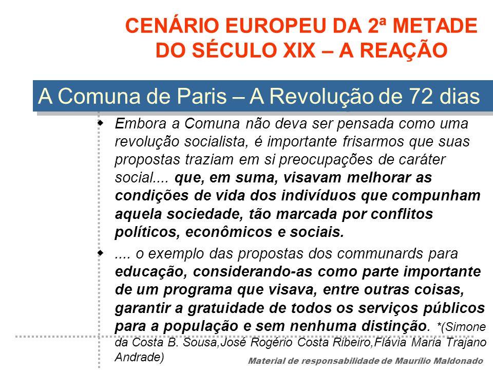 CENÁRIO EUROPEU DA 2ª METADE DO SÉCULO XIX – A REAÇÃO