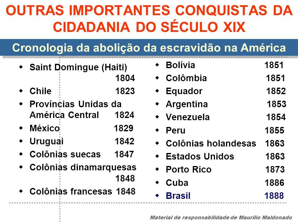 OUTRAS IMPORTANTES CONQUISTAS DA CIDADANIA DO SÉCULO XIX