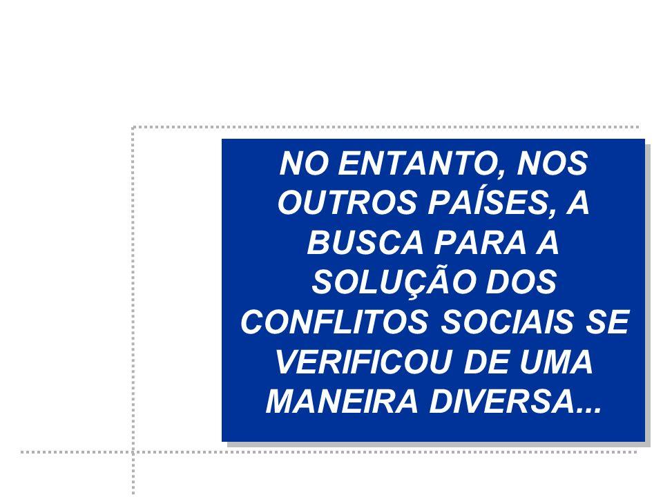 NO ENTANTO, NOS OUTROS PAÍSES, A BUSCA PARA A SOLUÇÃO DOS CONFLITOS SOCIAIS SE VERIFICOU DE UMA MANEIRA DIVERSA...