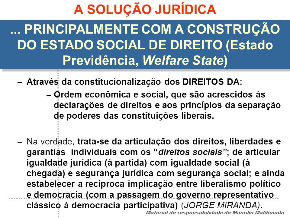 A SOLUÇÃO JURÍDICA ... PRINCIPALMENTE COM A CONSTRUÇÃO DO ESTADO SOCIAL DE DIREITO (Estado Previdência, Welfare State)