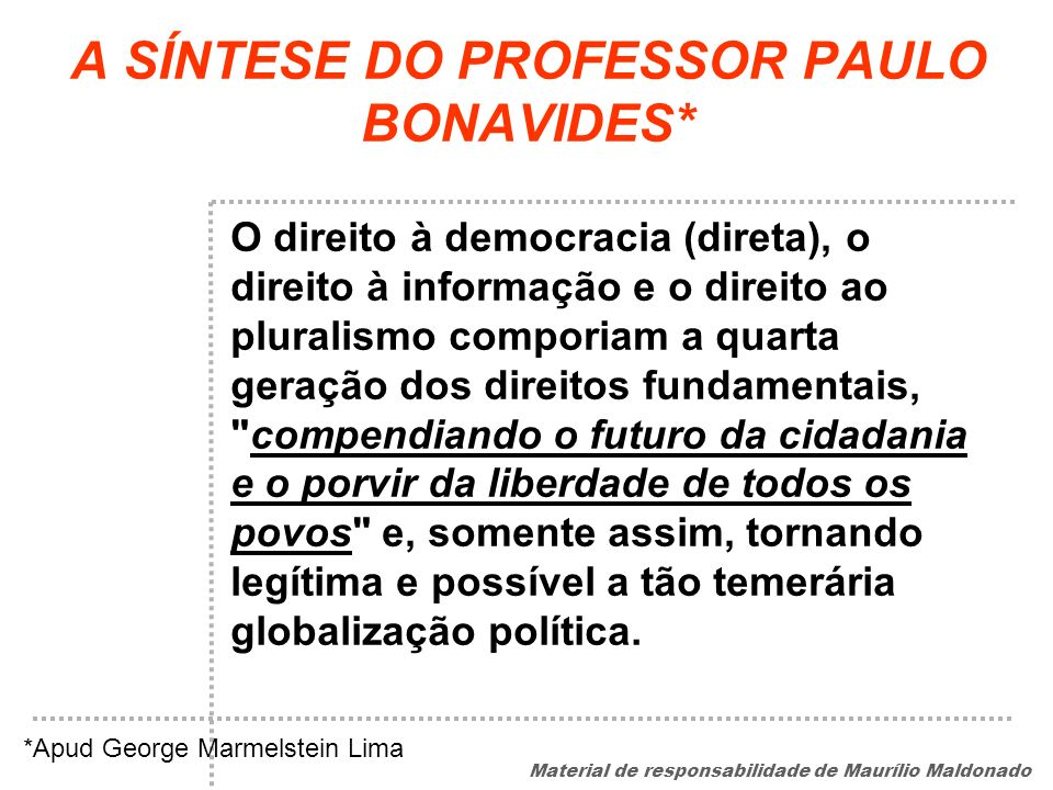 A SÍNTESE DO PROFESSOR PAULO BONAVIDES*