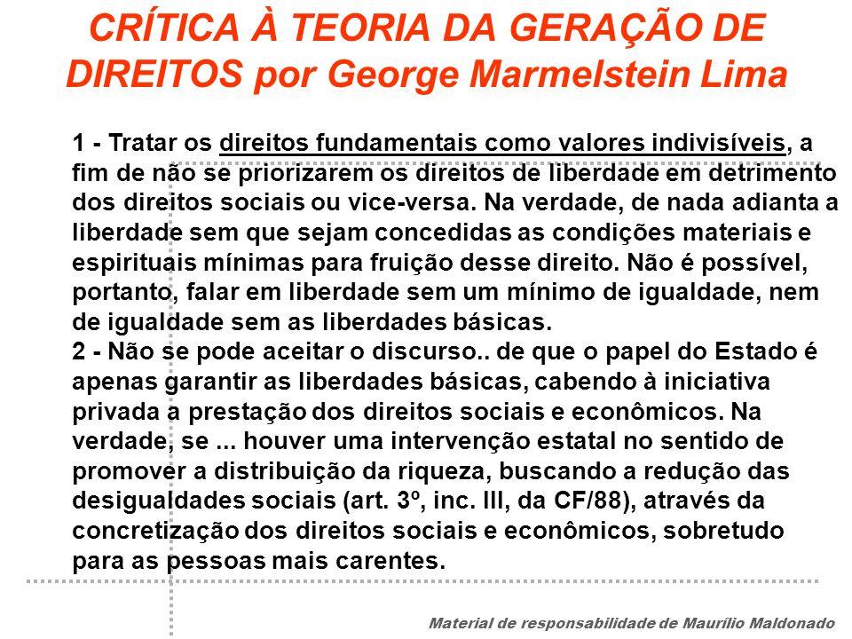CRÍTICA À TEORIA DA GERAÇÃO DE DIREITOS por George Marmelstein Lima