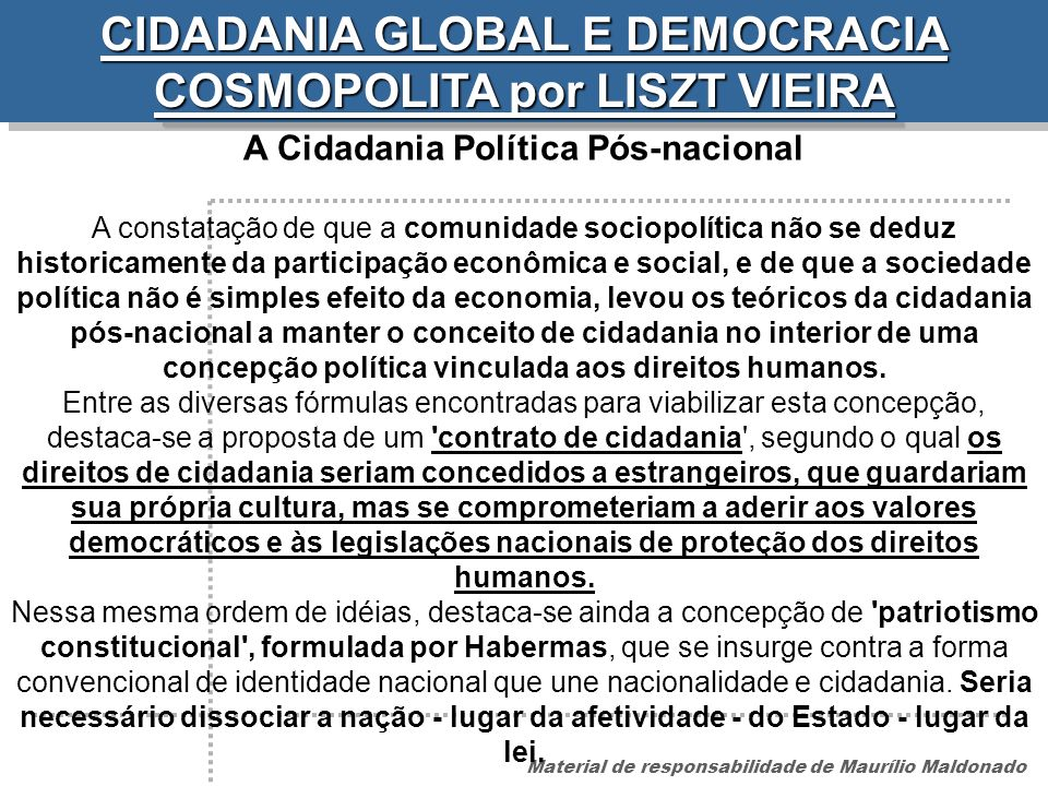 CIDADANIA GLOBAL E DEMOCRACIA COSMOPOLITA por LISZT VIEIRA