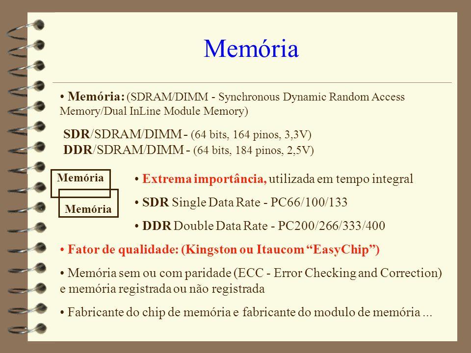 Memória Memória: (SDRAM/DIMM - Synchronous Dynamic Random Access Memory/Dual InLine Module Memory)
