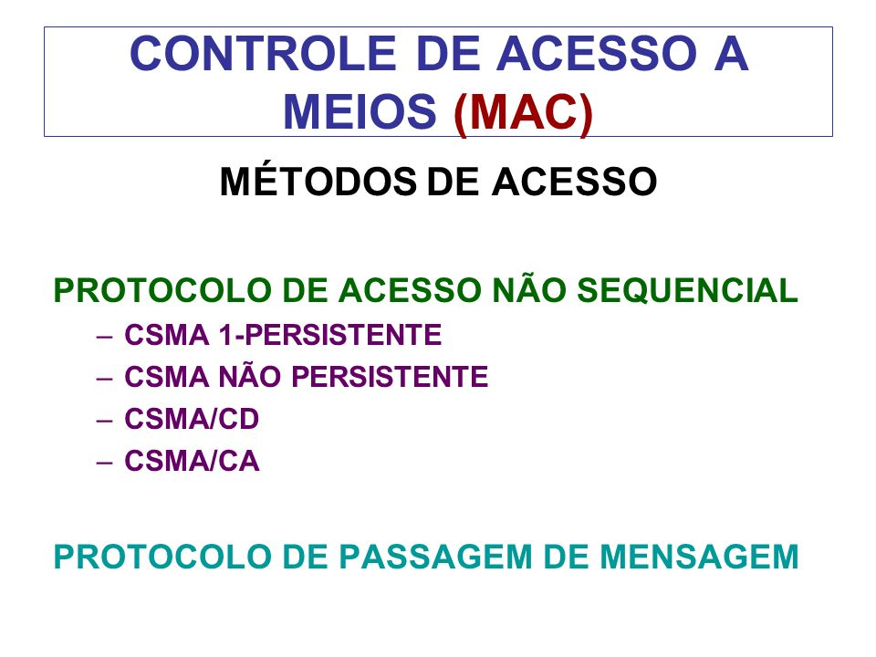 CONTROLE DE ACESSO A MEIOS (MAC)