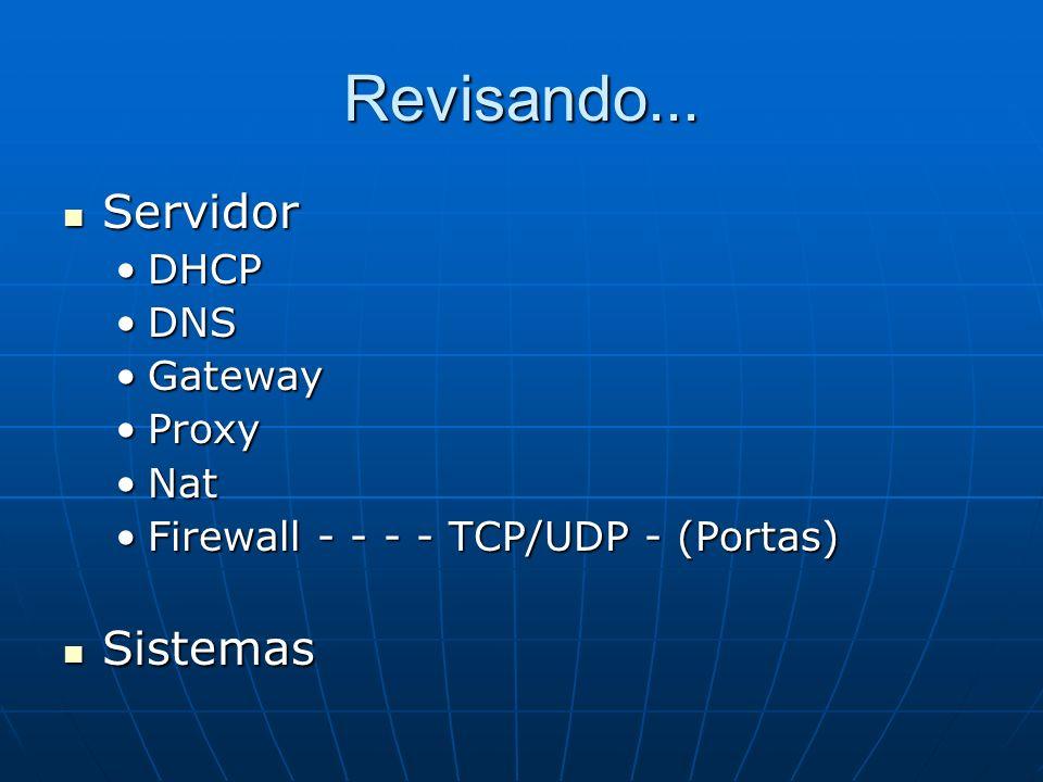 Revisando... Servidor Sistemas DHCP DNS Gateway Proxy Nat