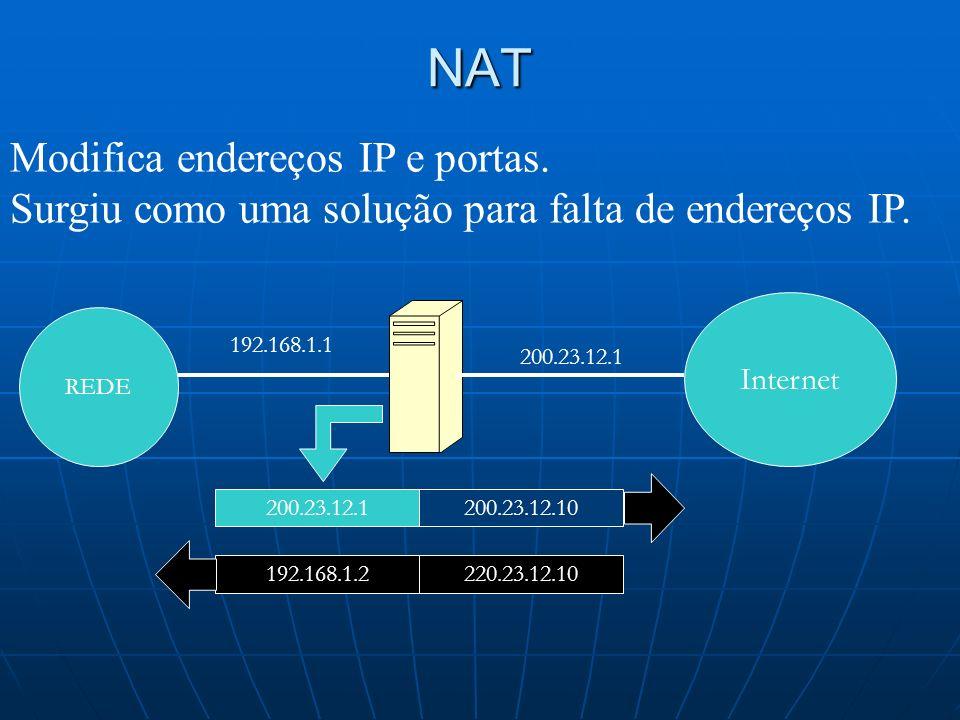 NAT Modifica endereços IP e portas.