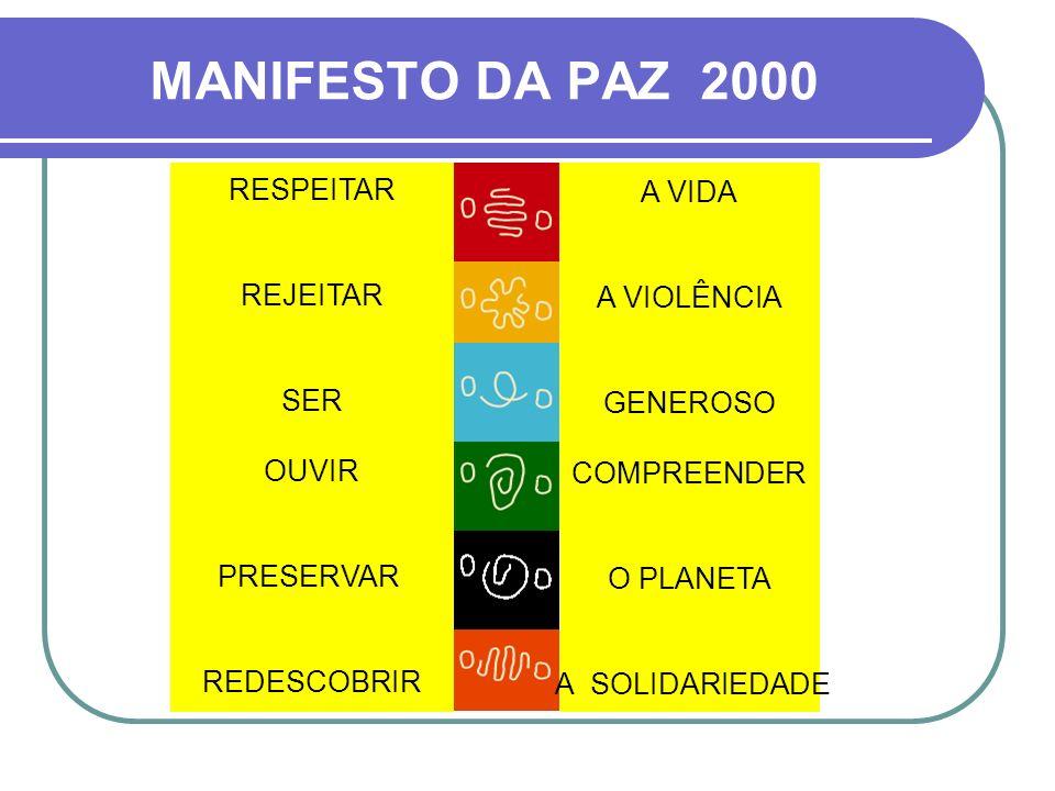 MANIFESTO DA PAZ 2000 RESPEITAR A VIDA REJEITAR A VIOLÊNCIA SER