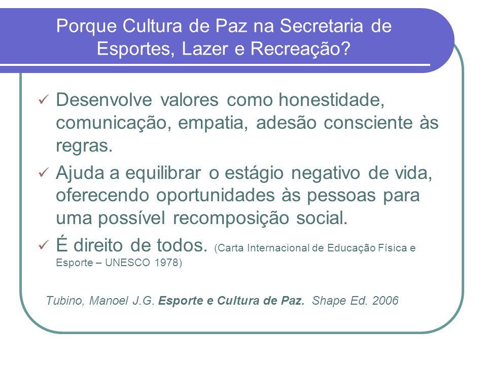 Porque Cultura de Paz na Secretaria de Esportes, Lazer e Recreação
