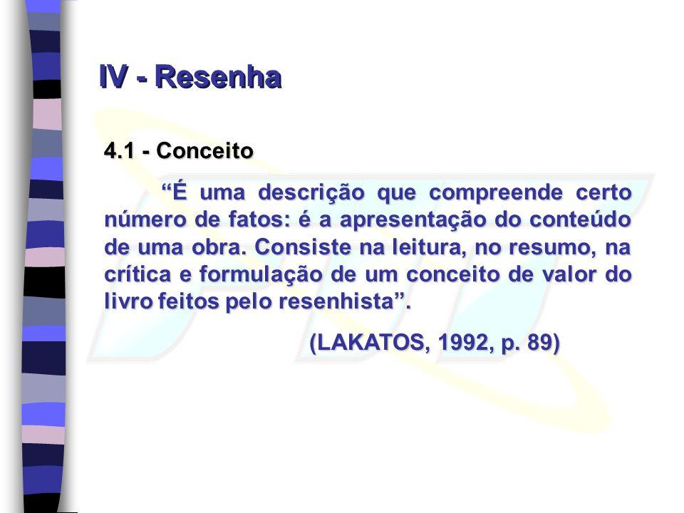 IV - Resenha 4.1 - Conceito.