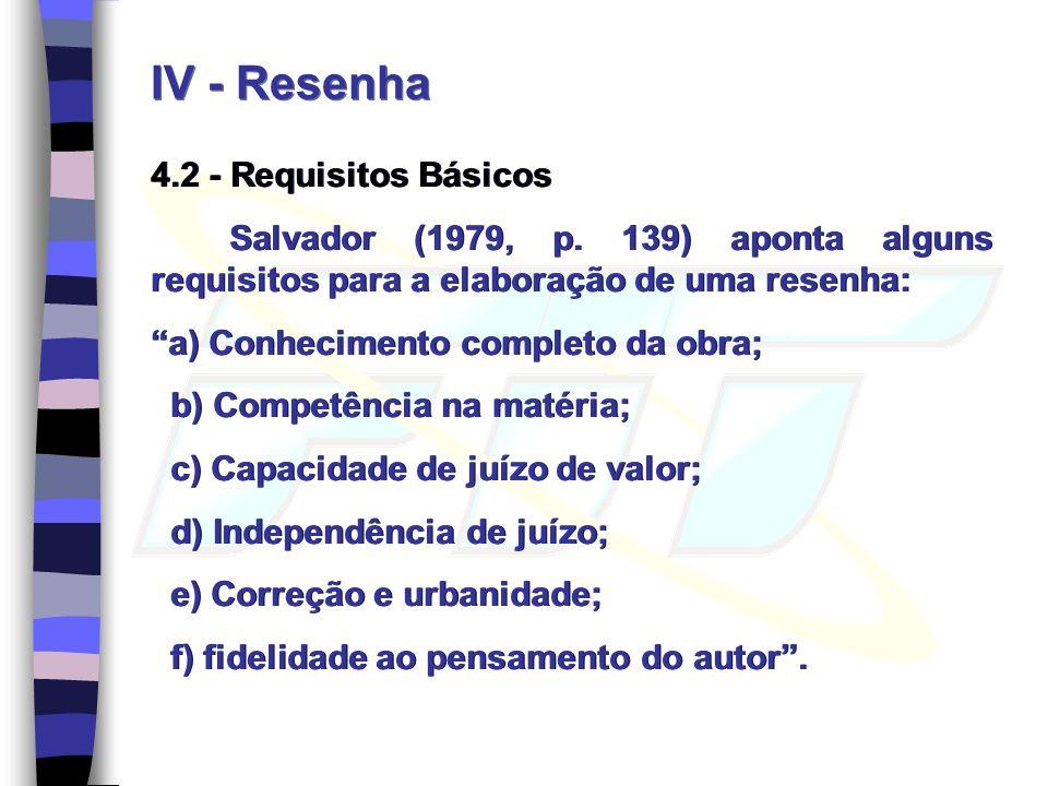IV - Resenha 4.2 - Requisitos Básicos