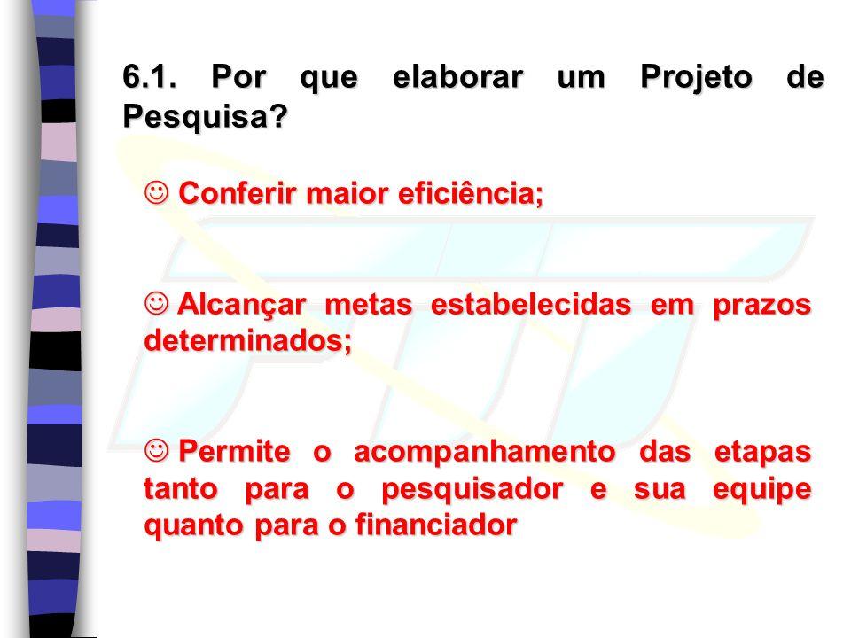 6.1. Por que elaborar um Projeto de Pesquisa
