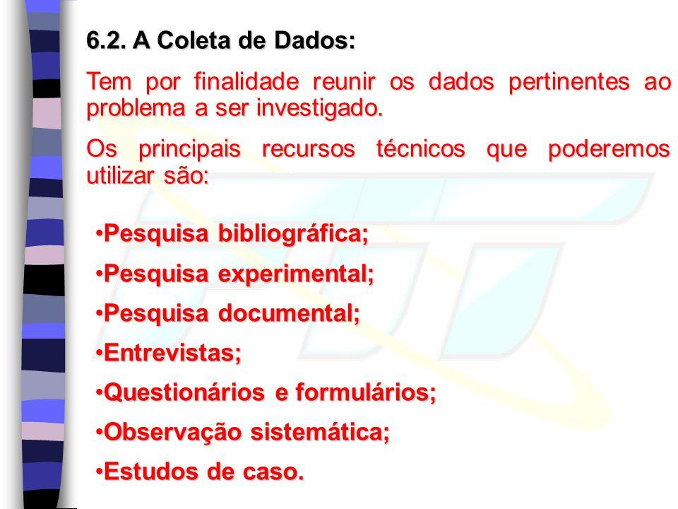 6.2. A Coleta de Dados: Tem por finalidade reunir os dados pertinentes ao problema a ser investigado.