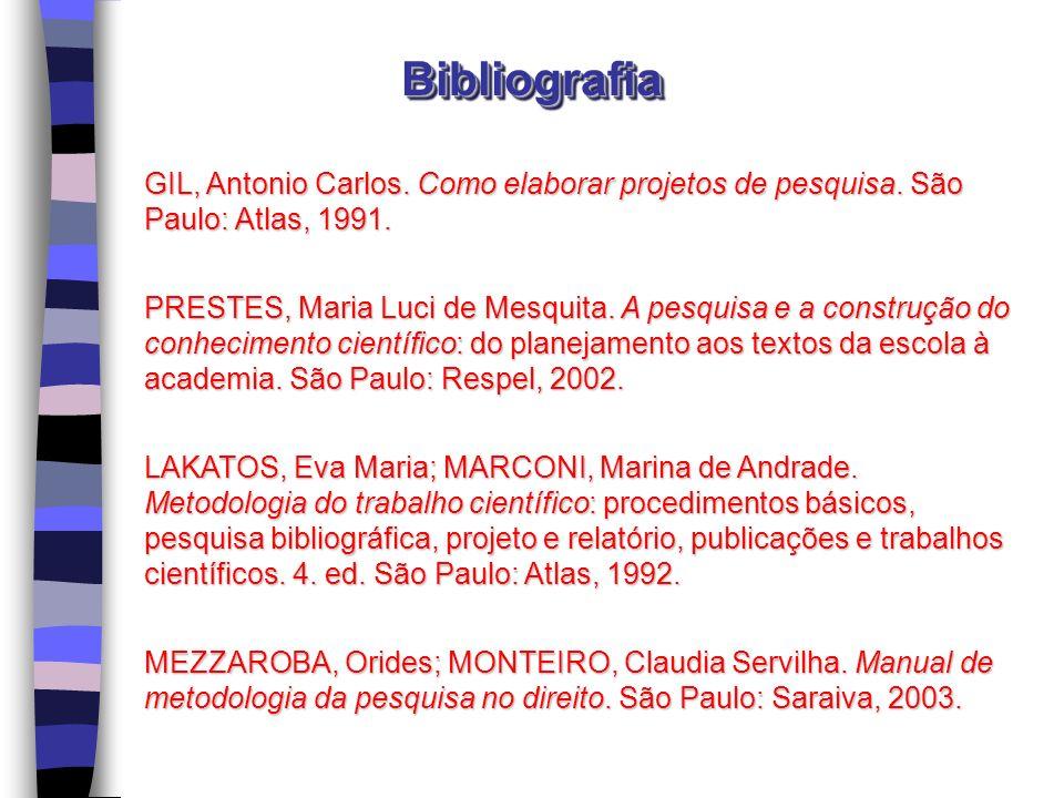 Bibliografia GIL, Antonio Carlos. Como elaborar projetos de pesquisa. São Paulo: Atlas, 1991.