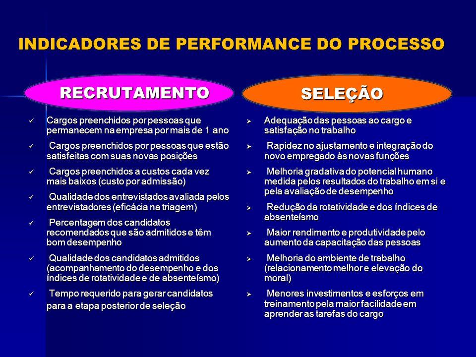 INDICADORES DE PERFORMANCE DO PROCESSO