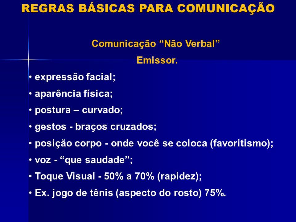 REGRAS BÁSICAS PARA COMUNICAÇÃO Comunicação Não Verbal