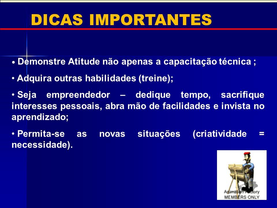 DICAS IMPORTANTES Adquira outras habilidades (treine);