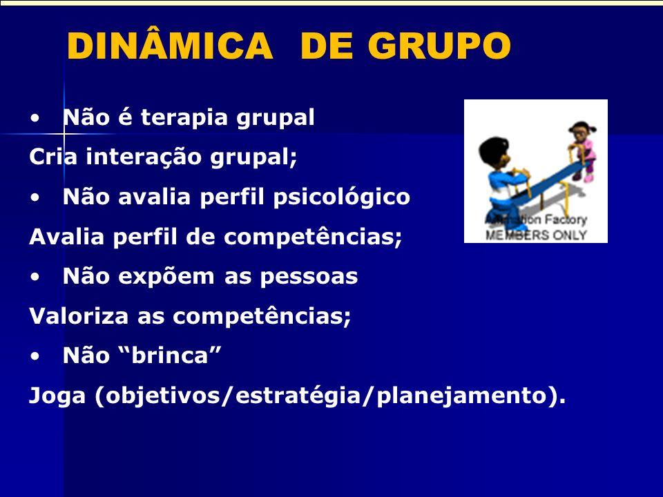 DINÂMICA DE GRUPO Não é terapia grupal Cria interação grupal;
