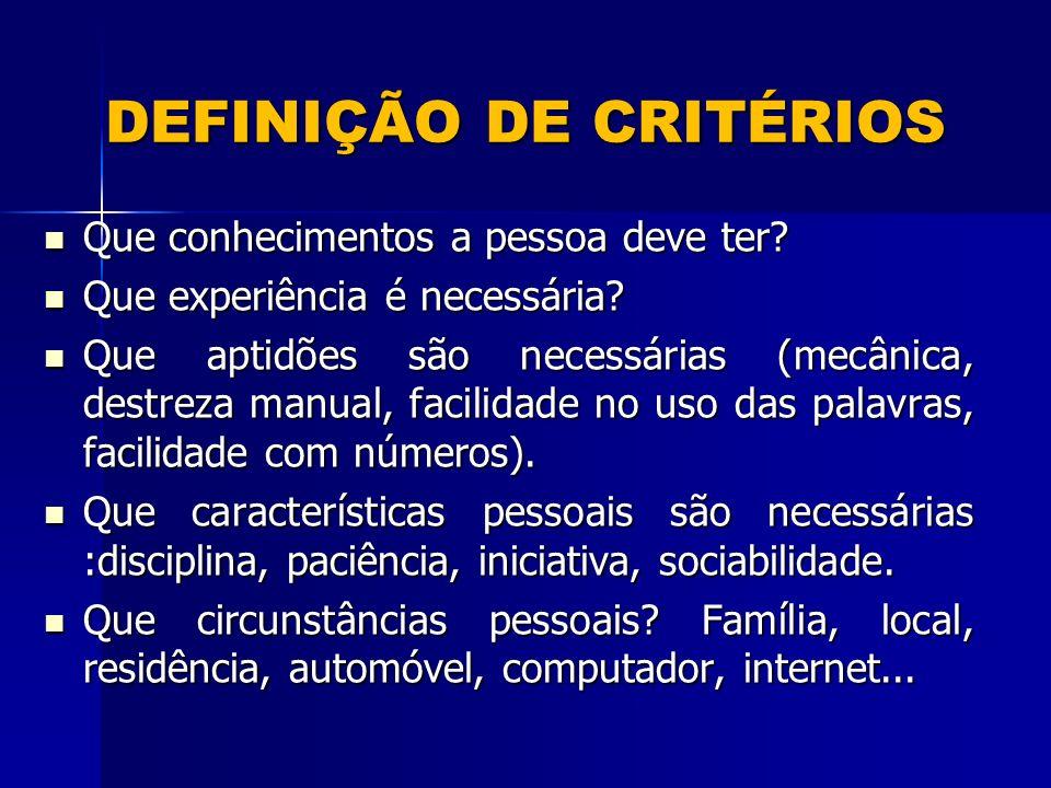 DEFINIÇÃO DE CRITÉRIOS