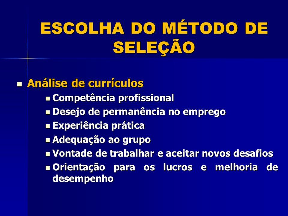 ESCOLHA DO MÉTODO DE SELEÇÃO
