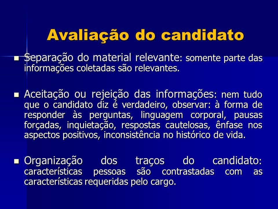 Avaliação do candidato