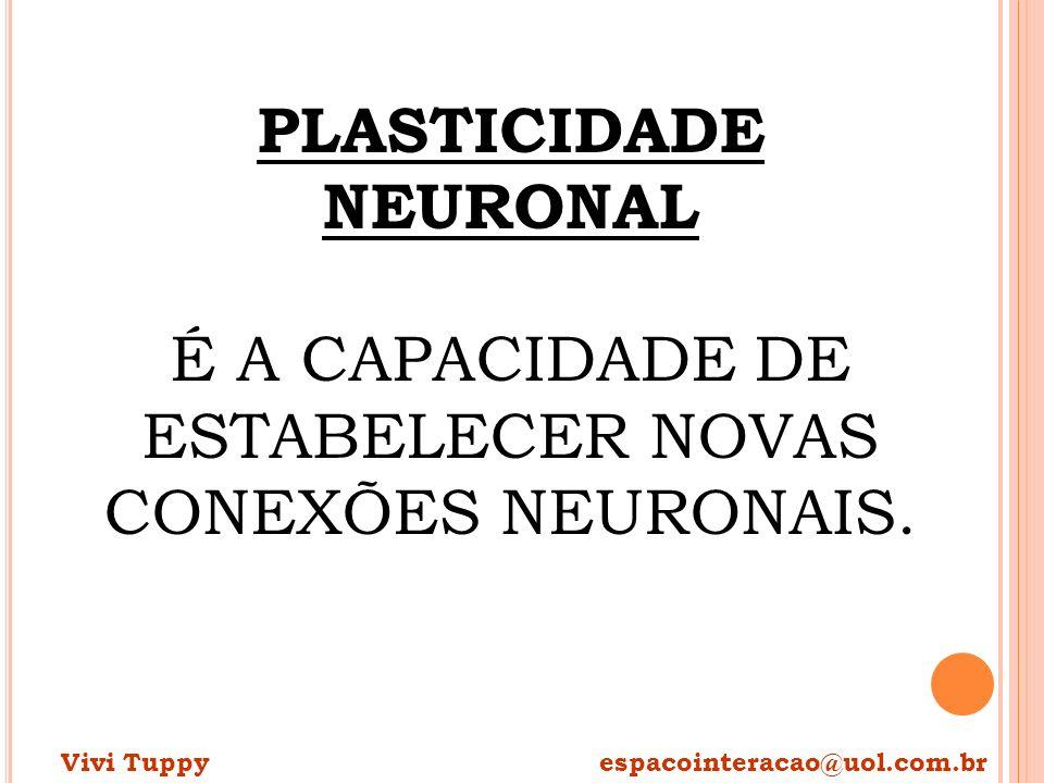 PLASTICIDADE NEURONAL É A CAPACIDADE DE ESTABELECER NOVAS CONEXÕES NEURONAIS.