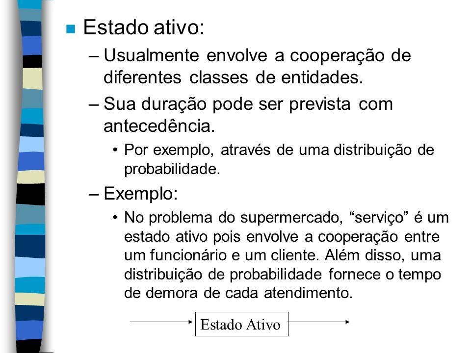 Estado ativo: Usualmente envolve a cooperação de diferentes classes de entidades. Sua duração pode ser prevista com antecedência.