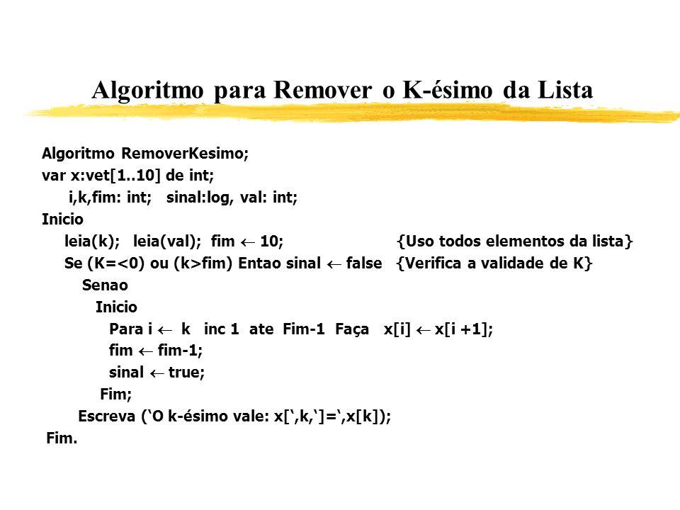 Algoritmo para Remover o K-ésimo da Lista