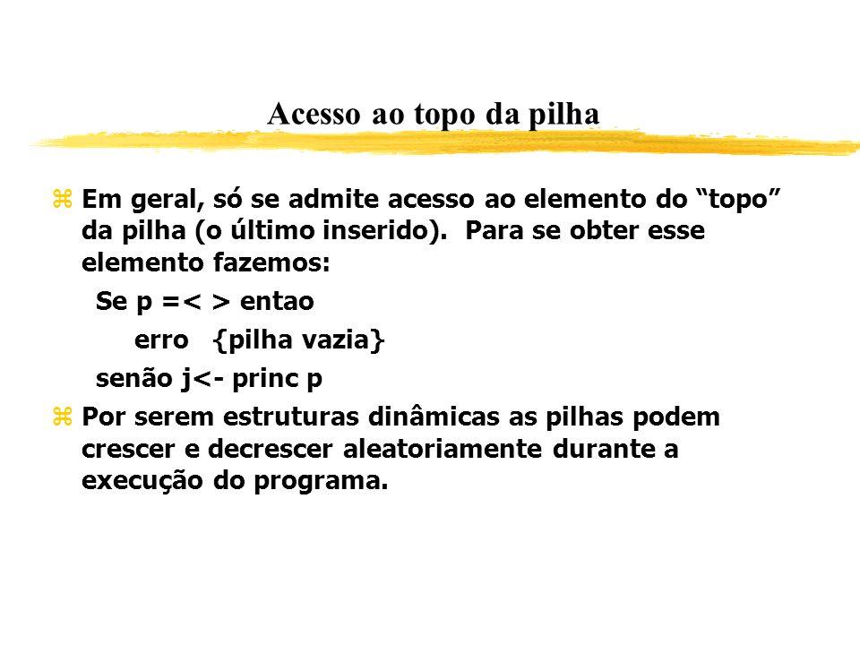 Acesso ao topo da pilha Em geral, só se admite acesso ao elemento do topo da pilha (o último inserido). Para se obter esse elemento fazemos: