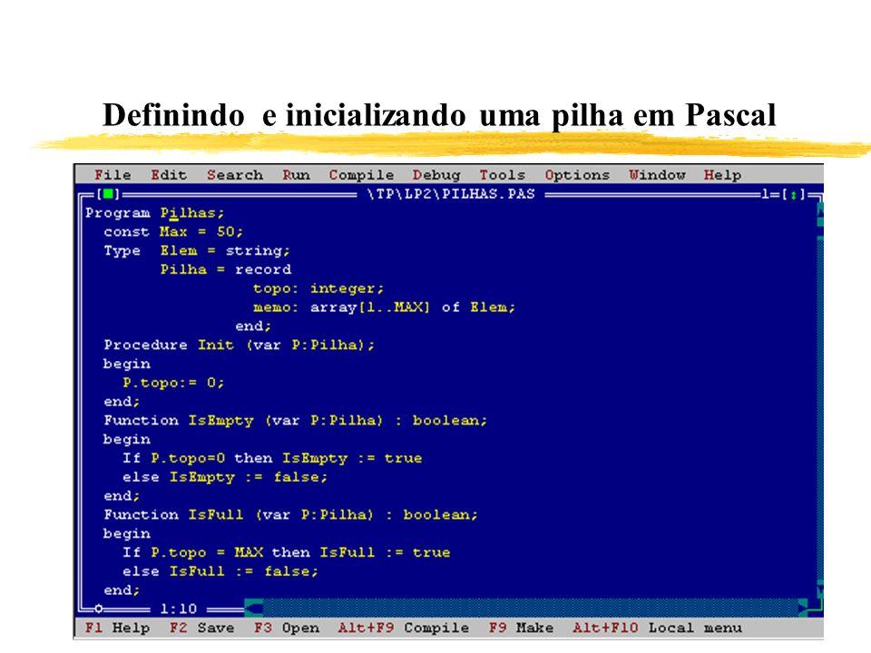 Definindo e inicializando uma pilha em Pascal