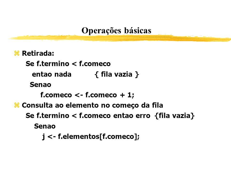 Operações básicas Retirada: Se f.termino < f.comeco