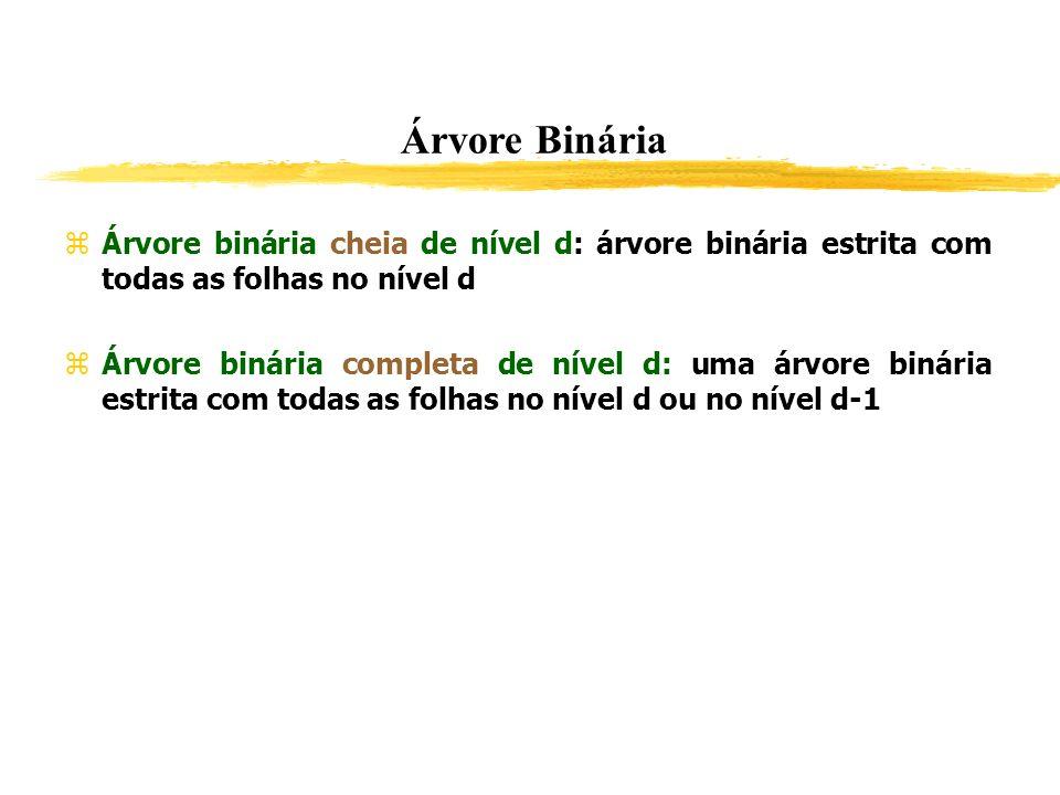 Árvore Binária Árvore binária cheia de nível d: árvore binária estrita com todas as folhas no nível d.