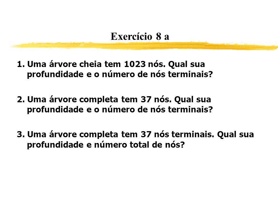 Exercício 8 a 1. Uma árvore cheia tem 1023 nós. Qual sua profundidade e o número de nós terminais