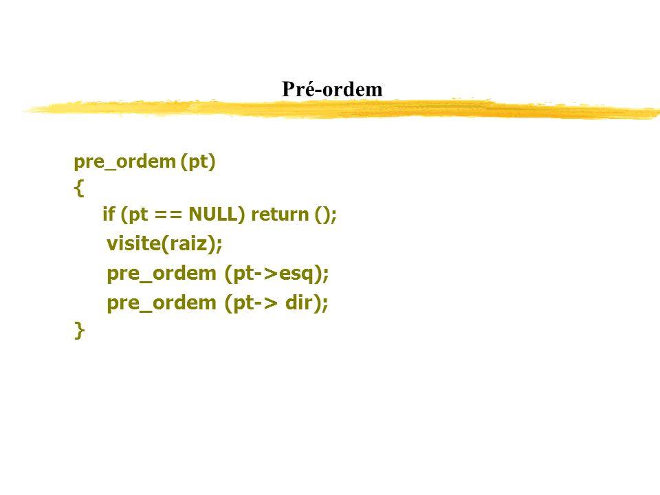Pré-ordem visite(raiz); pre_ordem (pt->esq);