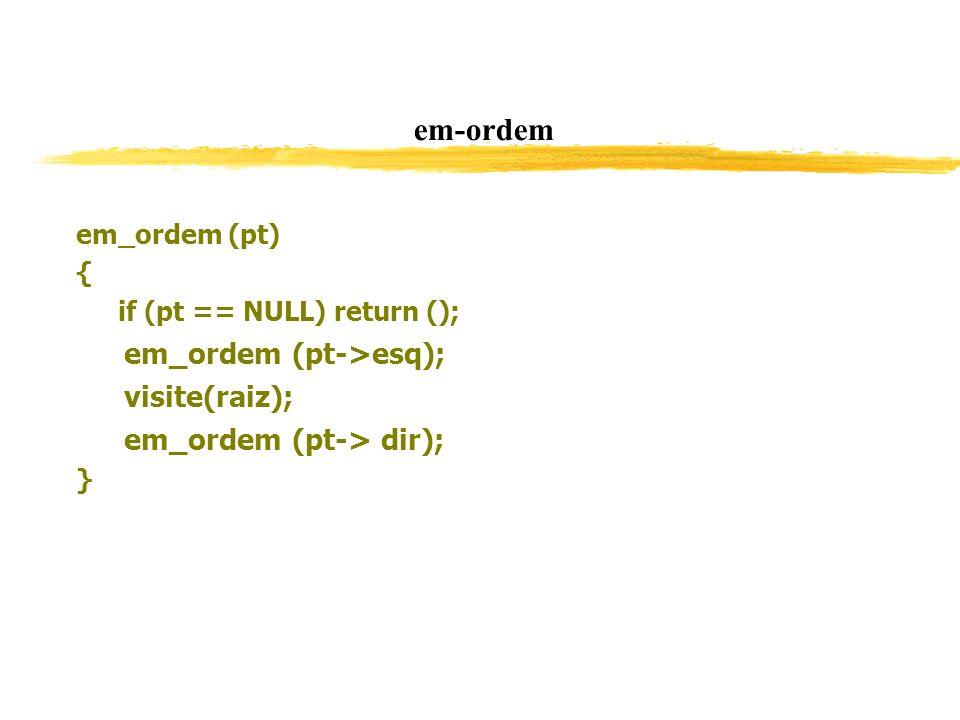 em-ordem em_ordem (pt->esq); visite(raiz); em_ordem (pt-> dir);