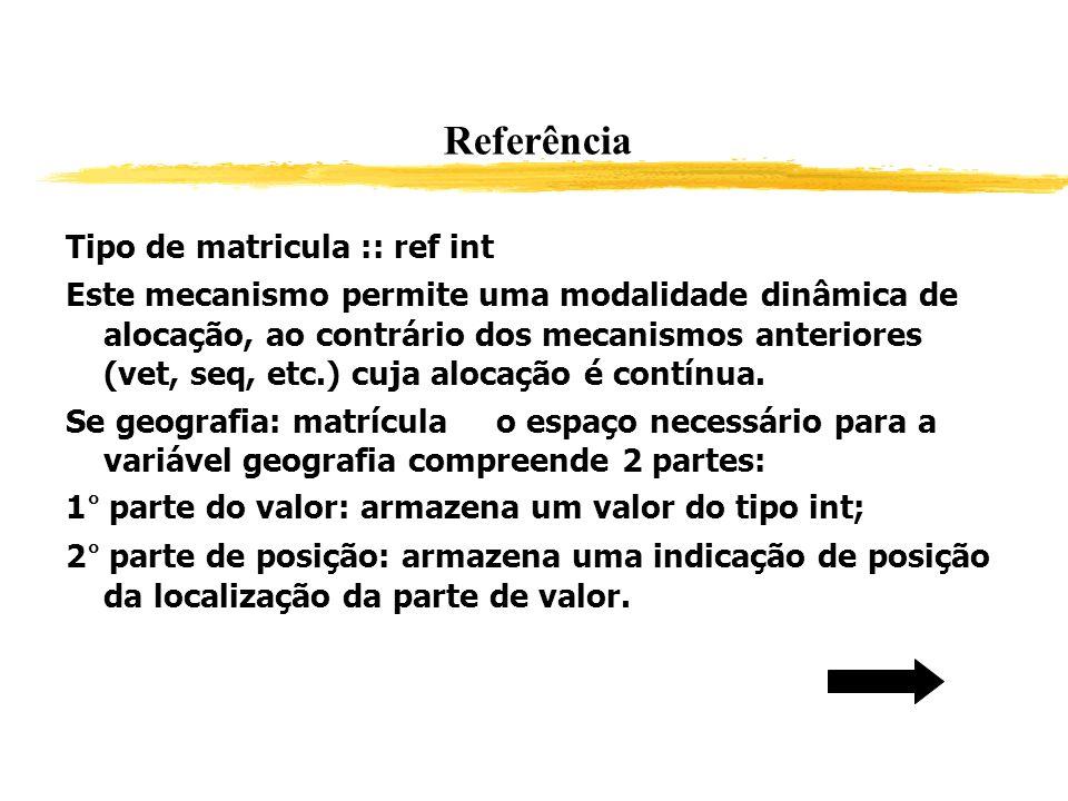 Referência Tipo de matricula :: ref int