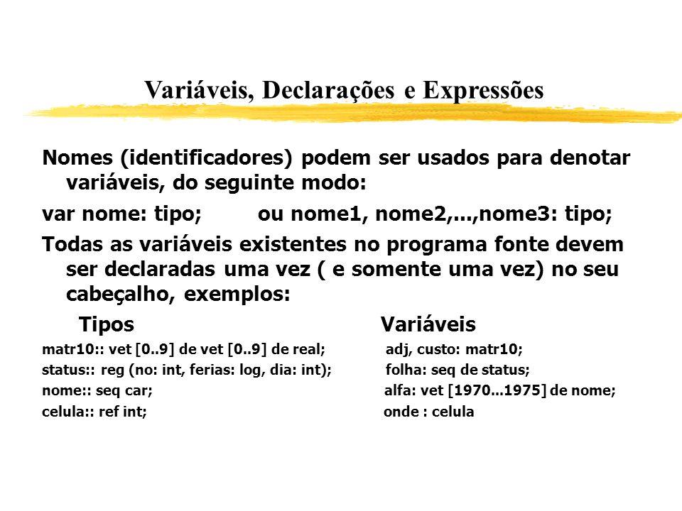 Variáveis, Declarações e Expressões