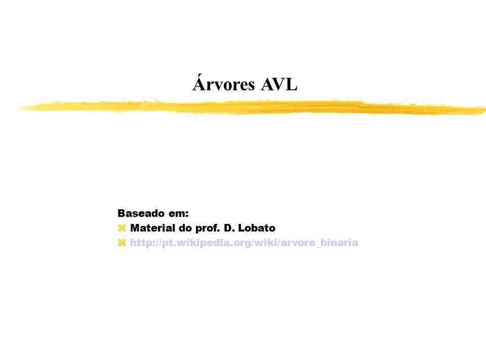 Árvores AVL Baseado em: Material do prof. D. Lobato