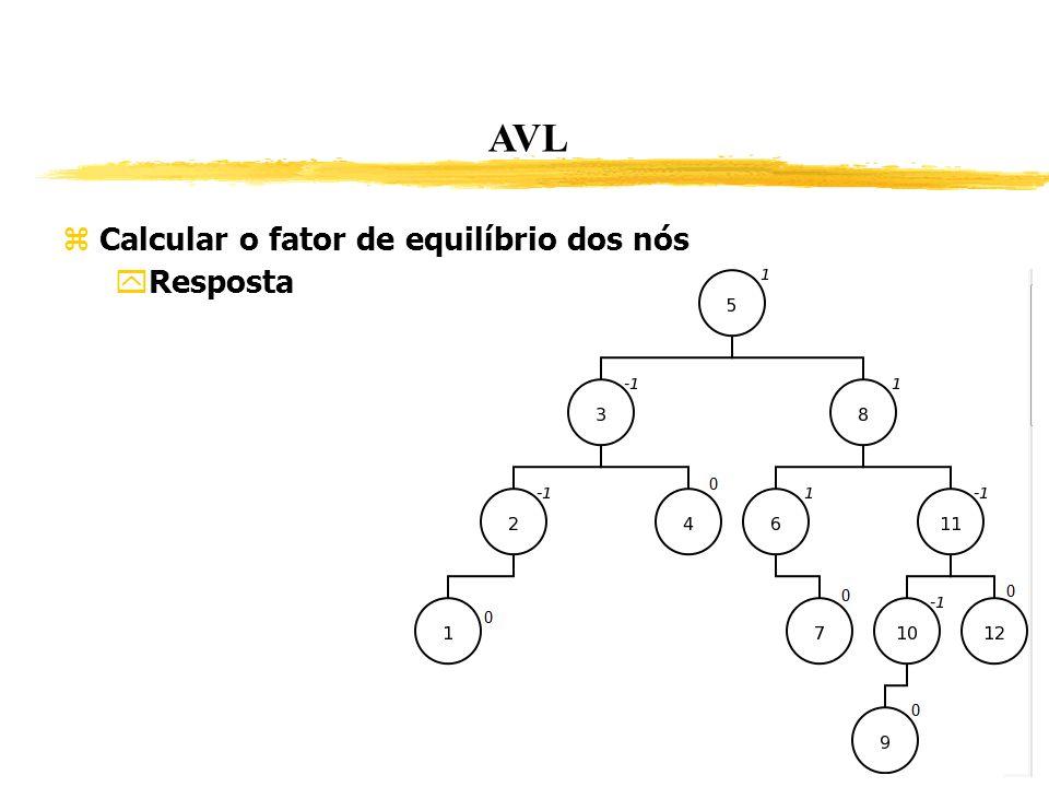 AVL Calcular o fator de equilíbrio dos nós Resposta 247