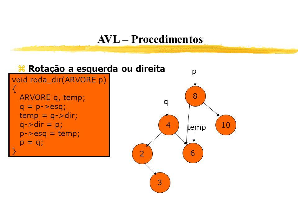 AVL – Procedimentos Rotação a esquerda ou direita p