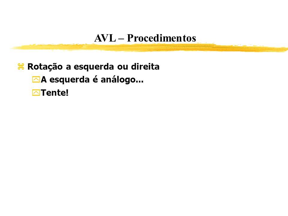 AVL – Procedimentos Rotação a esquerda ou direita