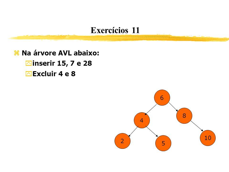 Exercícios 11 Na árvore AVL abaixo: inserir 15, 7 e 28 Excluir 4 e 8 6