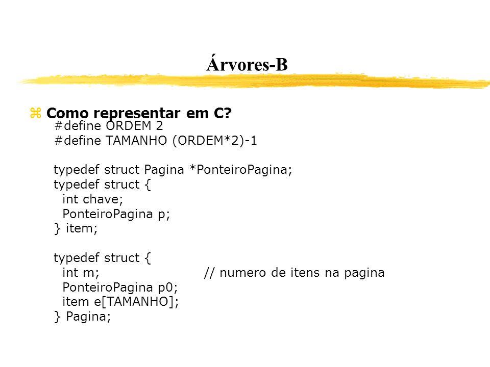Árvores-B Como representar em C #define ORDEM 2