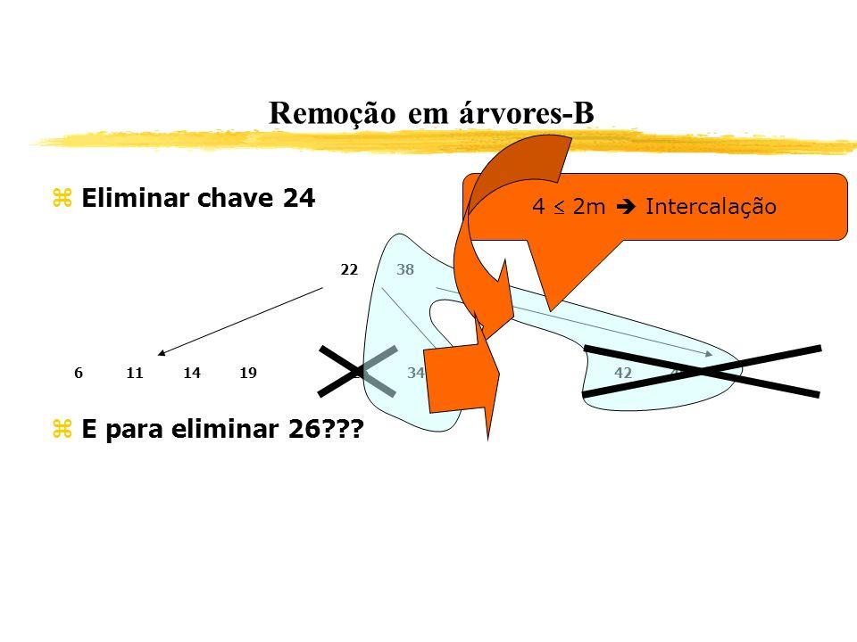 Remoção em árvores-B Eliminar chave 24 E para eliminar 26